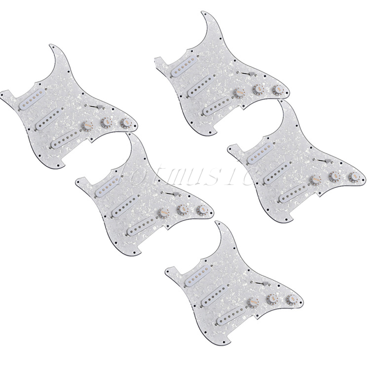 5Pcs White Pearl Guitar Pickguard with Pickup SSS Pickguard for Electric Guitar Replacement Parts 3ply цена