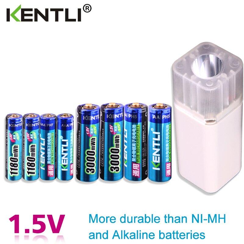 KENTLI 8 шт. 1,5 в батарейки AA AAA литий ионная литий полимерная литиевая батарея + 4 слота AA AAA литиевая батарея Li ion смарт зарядное устройство