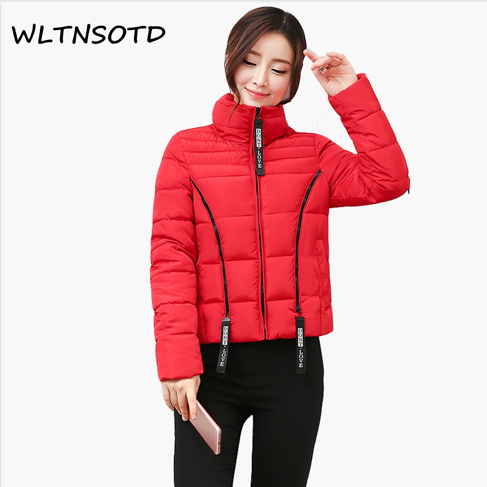 Womens Winter Jackets And Coats 2017 New Winter Cotton Coat Women Slim Lapel Warm Jacket Female Fashion Solid Chains Parkas