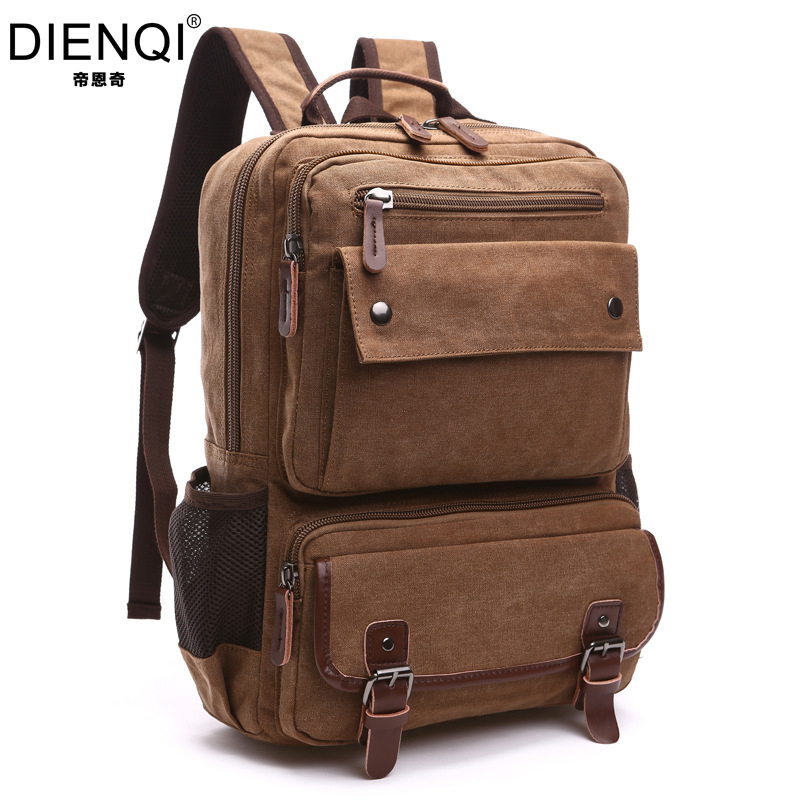 DIENQI 2018 New Canvas Backpack Handle Vintage School Large Capacity Schoolbag Luxury Travel Rucksack Mochila Escolar MG8676 delune new european children school bag for girls boys backpack cartoon mochila infantil large capacity orthopedic schoolbag