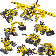 MEOA New City Series 4 Styles 2 IN 1 Engineering Truck Excavator Bulldozer Robot Airplane Building Blocks Compatible Legoings