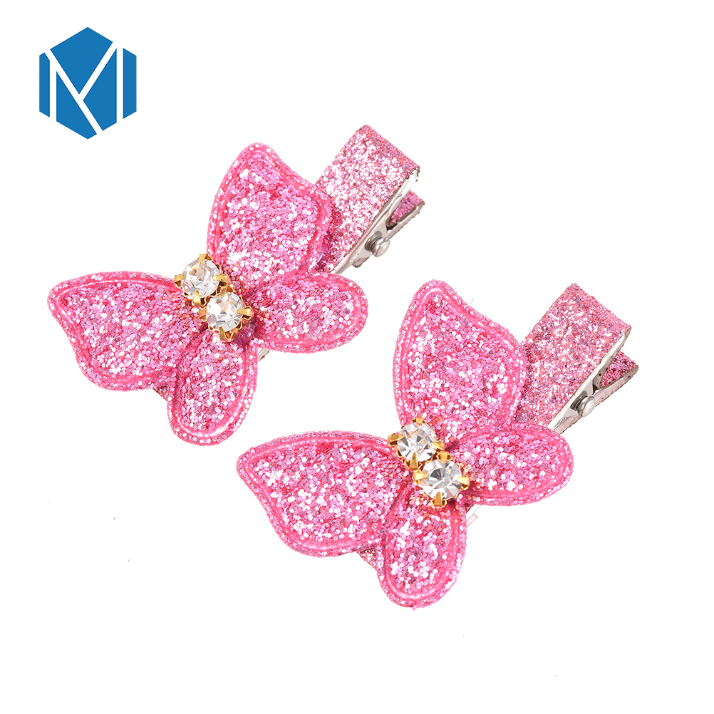 M Mism One Pair Hot Sale Hair Clips Girls Butterfly Twinkling Hairpins Shiny Rhinestone For Lovely Children Hairaccessories