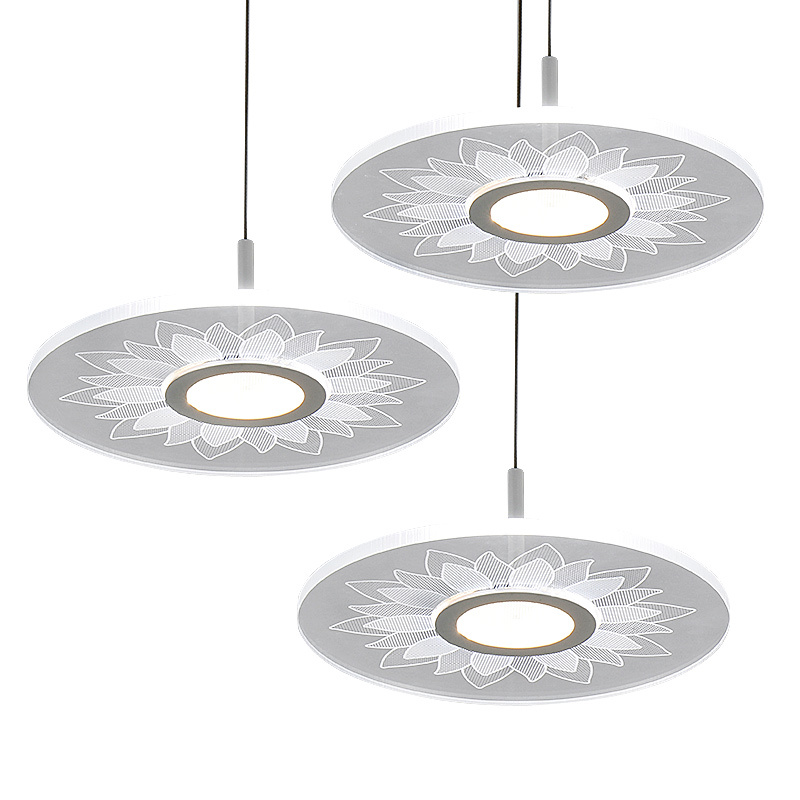 Ultra-thin pendant lights cord lamp dining room lustres 90-260v chandelier CE UL for kitchen LED ceiling fan hang fixtures 18w dual led ceiling lamp 140 270mm ce