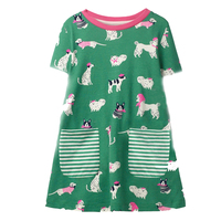 Kids Casual Dresses for Girls Costume Animal Print Princess Summer Dress Baby Girl Clothes Short Sleeve Cotton Girls Dress 2-7Y