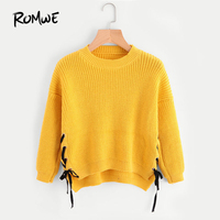 ROMWE Eyelet Lace Up Side Dip Hem Sweater Autumn 2017 Yellow Round Neck Pullovers Long Sleeve Casual Loose Sweater