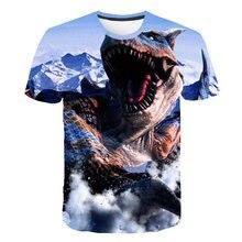 Summer 2019 short sleeve o collar monster hunter game T-shirt 3D digital printing loose slim mens shirt 6XL