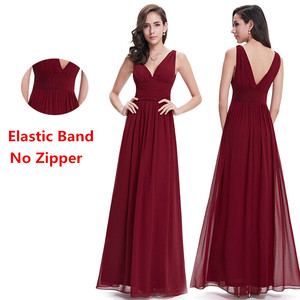 Image 2 - Elegant Burgundy Long Bridesmaid Dresses A Line V Neck Women Guest Dress for Wedding Party Ever Pretty Plus Size Formal Gowns