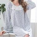 Otoño de Impresión Camisas de Dormir Camisones Vestido de Encaje Casa Suave Elegante Camisón Ropa Interior Cómoda Camisón Femenino # HH24