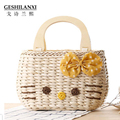 2017 new fashion spring summer portable straw bag woven cartoon cat female beach bag messenger sweet Holiday Natural linen bag