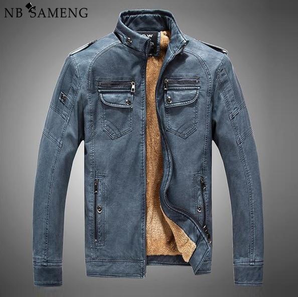 Hombres de la chaqueta de cuero de piel de invierno mens chaquetas de la motocicleta 2017 de china el hombre de pie cremallera cuello fishion abrigos tamaño M-XXXL NSWT209