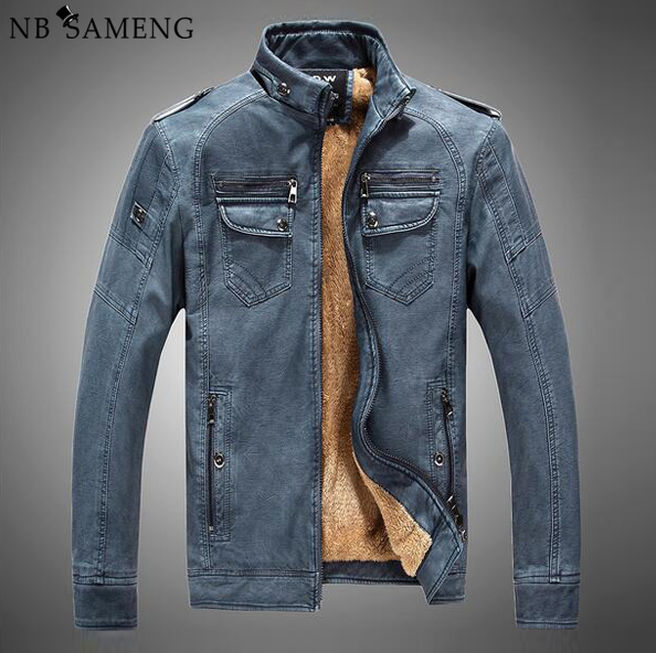 leather jacket  men winter fur mens motorcycle jackets 2017 china man stand up collar zipper fishion coats size M-XXXL NSWT209