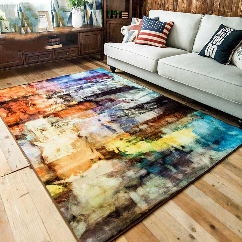 Kingart 현대 추상 간단한 소파 카펫 아이 방 두꺼운 tapete 다채로운 깔개와 거실 장식