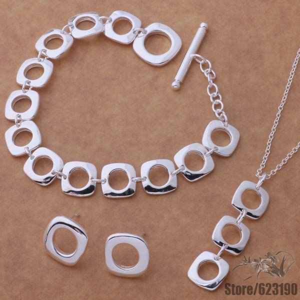 AS039 versilbert Schmuck-Set, Modeschmuck-Set / fruaojba hegapvna