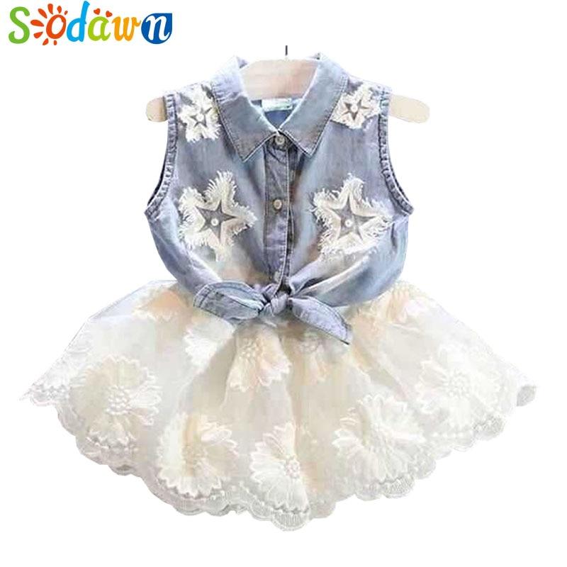 Sodawn 2018 Summer Style Baby Girls Clothing Children Denim Shirt+White Chiffon Dress Fashion Princess Dress Girls Clothes Suit