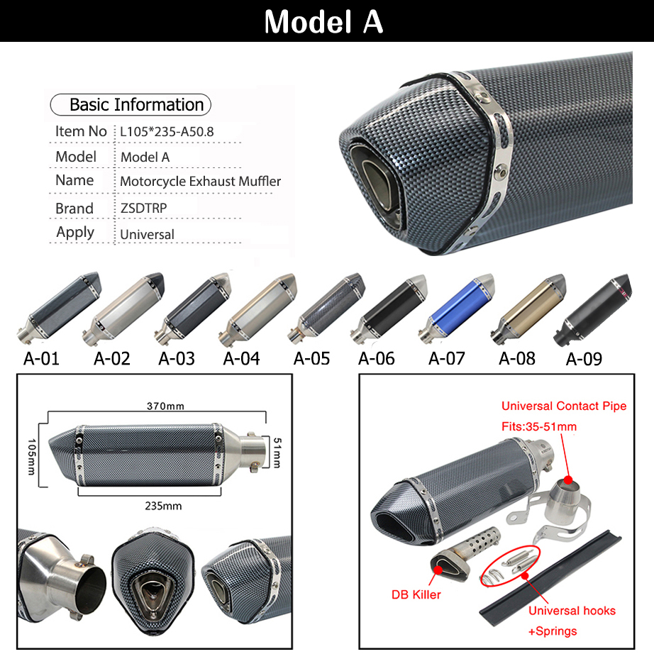 Image 3 - ZSDTRP Universal Motorcycle Akrapovic Exhaust Modify Motocross Exhaust Muffler For FZ6 CBR250 CB600 MT07 ATV Dirt Pit Bike-in Exhaust & Exhaust Systems from Automobiles & Motorcycles