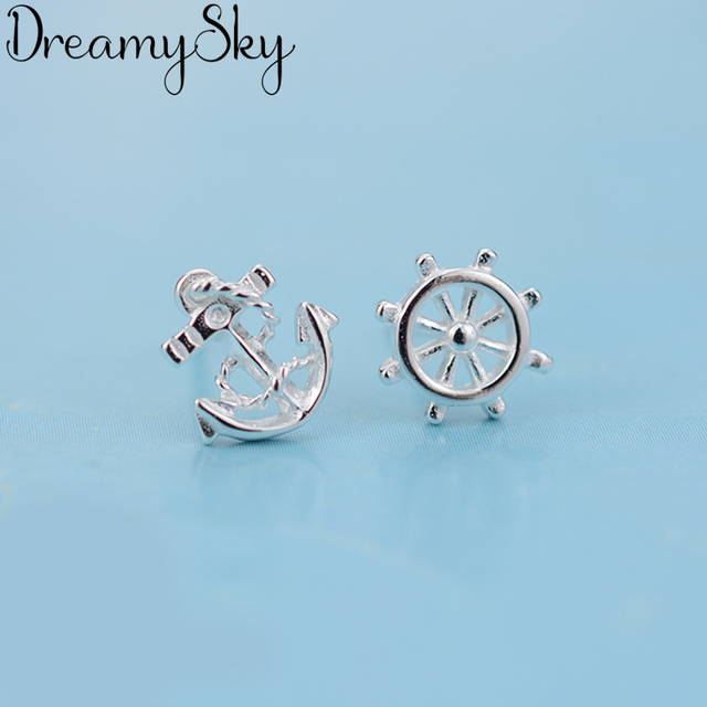 DreamySky Real Pure 925 Sterling Silver Anchor Earrings For Women Gift Fashion Wedding Christmas Jewelry Pendientes Brincos