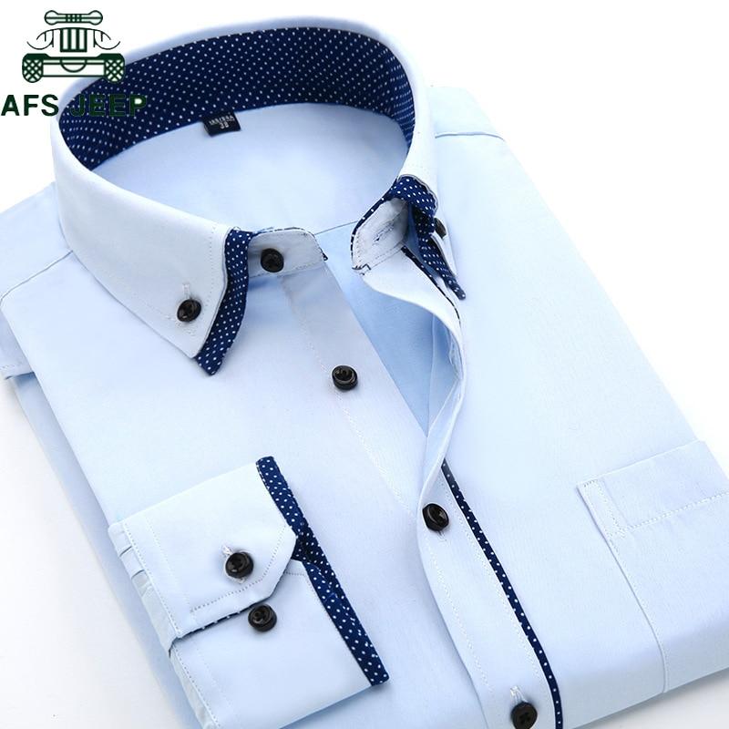Long Sleeve Dress Shirt Men 2019 Plus Size 4XL High Quality Solid Shirt Hombre Causal Slim Fit Business Shirts Men Chemise Homme
