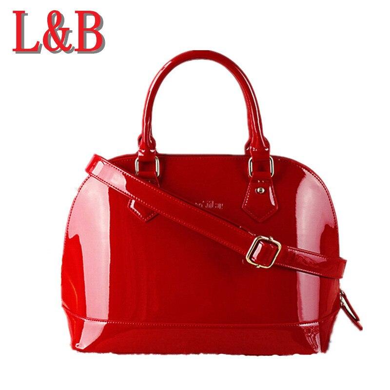 ФОТО Top Quality Handbag Red Bride Bag High Plain Bright Tote Bag Sac Femme Ladies Clutch Bag Brand Package Design Small Bag Diagonal