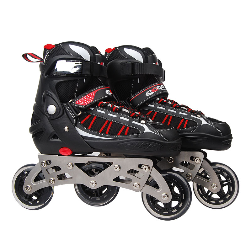 Inline Professional Adult Cross-country Slalom Shock absorption Ice Skating Shoes Adjustable  PU Wheels ABEC-7 Bearing professional men s adult ice skates shoes with ice blade black stainless cold resistant