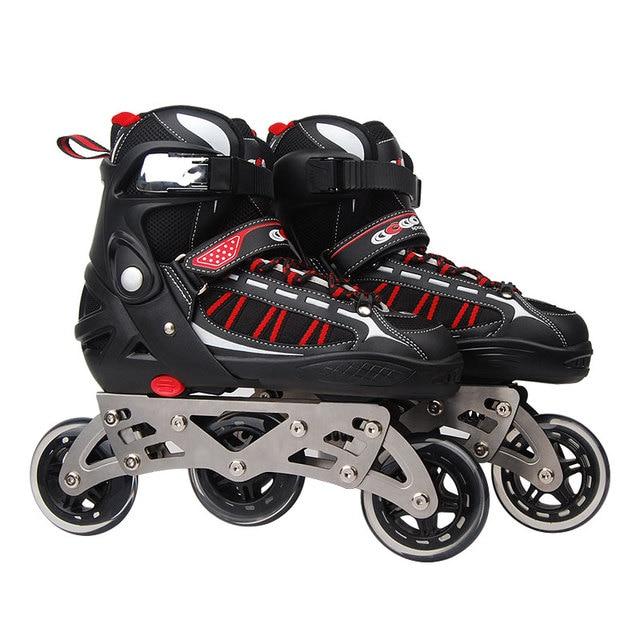 921ab21ae39 Inline Professionele Volwassen langlaufen Slalom schokabsorptie Schaatsen  Schoenen Verstelbare PU Wielen ABEC-7 Lager