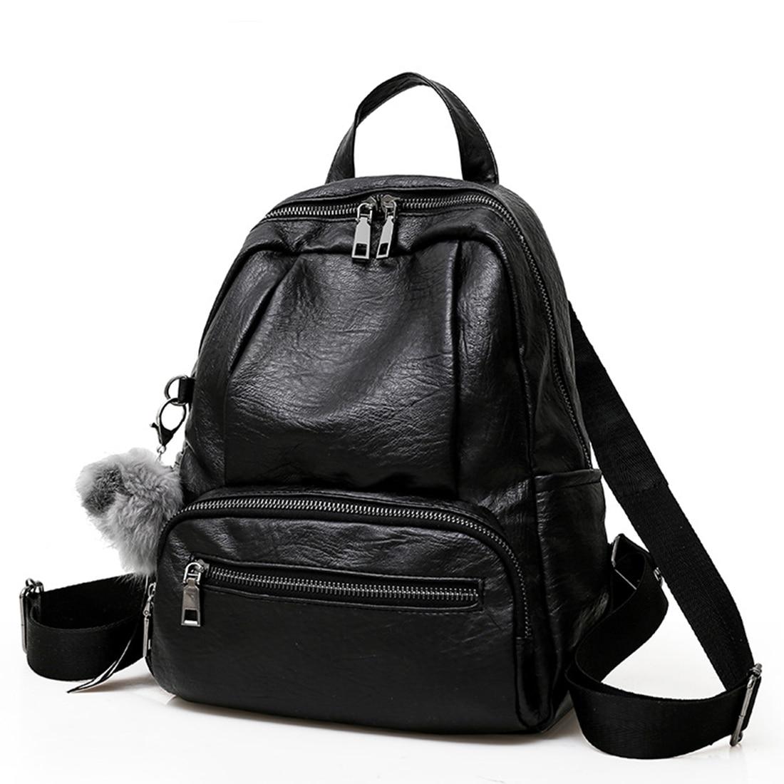 где купить Vintage Women Backpack for Teenage Girls School Bags  2018 Large Backpacks High Quality PU Leather Black Bag Brown backpack по лучшей цене
