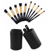 Makeup Lip New Maquiagem Cosmetic 12Pcs Tube Pincel Holder Blusher Leather Kit Cup Powder Set Portable