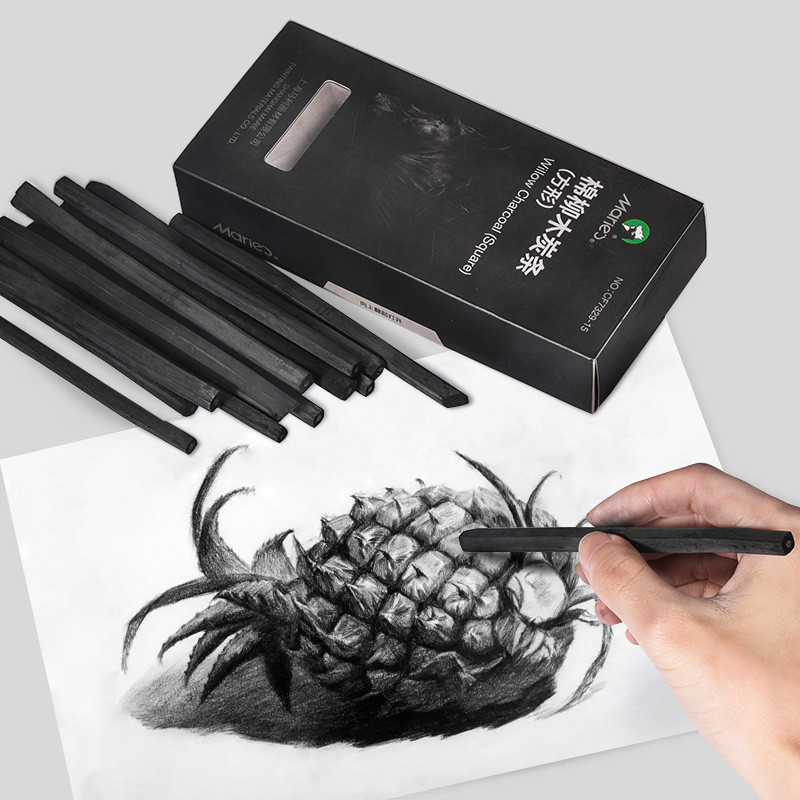 Marie's Charcoal Pencil Dibujo Profesional 15pcs B Sketch Charcoal Pencils Carboncillos Para Dibujo Lapices Dibujo Profesional