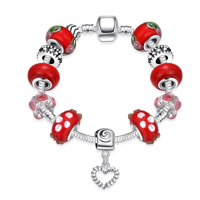 Cute Girls Children Mushroom Red/White/Green Enamel Beads Bangle Fashion Austrian Crystal Heart Pendant Silver Chain Bracelets