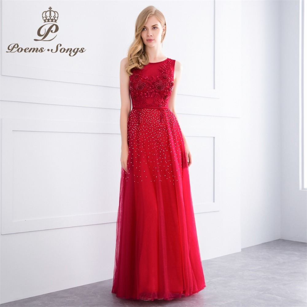 Poems Songs 2018 beading style Elegant party   dresses     evening     dress   prom   dresses   formal   dress     evening   gown