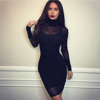 TAUPIN AM Two Pieces Women Evening Party Mesh Dress Stretch Mesh Knee-length Long Sleeve Bandage Dresses Celebrity Bodycon Dress