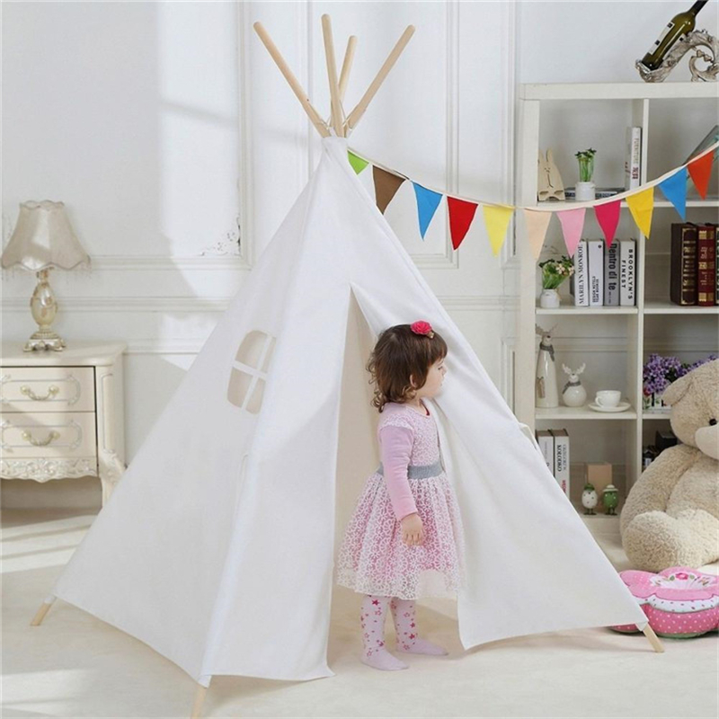 Kids Play Tent Cotton Canvas Teepee Children Toy Tent Cherokee Playhouse Indian Baby Room Tent