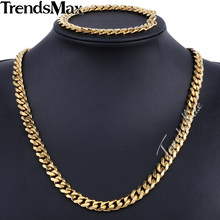 Trendsmax Brand Jewelry Set 9mm Gold/Black Color Men Chain Stainless Steel Necklace Bracelet Curb Link Fashion Hot KS200 KS202(Hong Kong,China)
