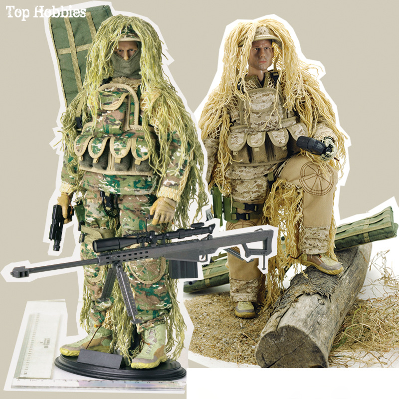 """1/6 Scale Army Military Flexible scale Desert/Jungle Sniper Soldier action figures doll Set ABS Wargame Model Fit 12"""" HOT Toys"""