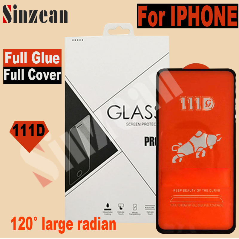 Sinzean 50pcs For IPHONE XS MAX XR 111D TOP Full Cover Tempered Glass For IPHONE 678
