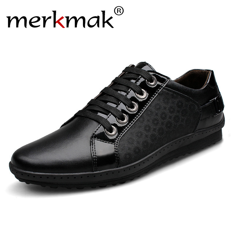 Merkmak New Brand Korean Casual Men Shoes Genuine Leather Lace Up Men's Fashion Sneakers Autumn Footwear Leather Big Size 37-44