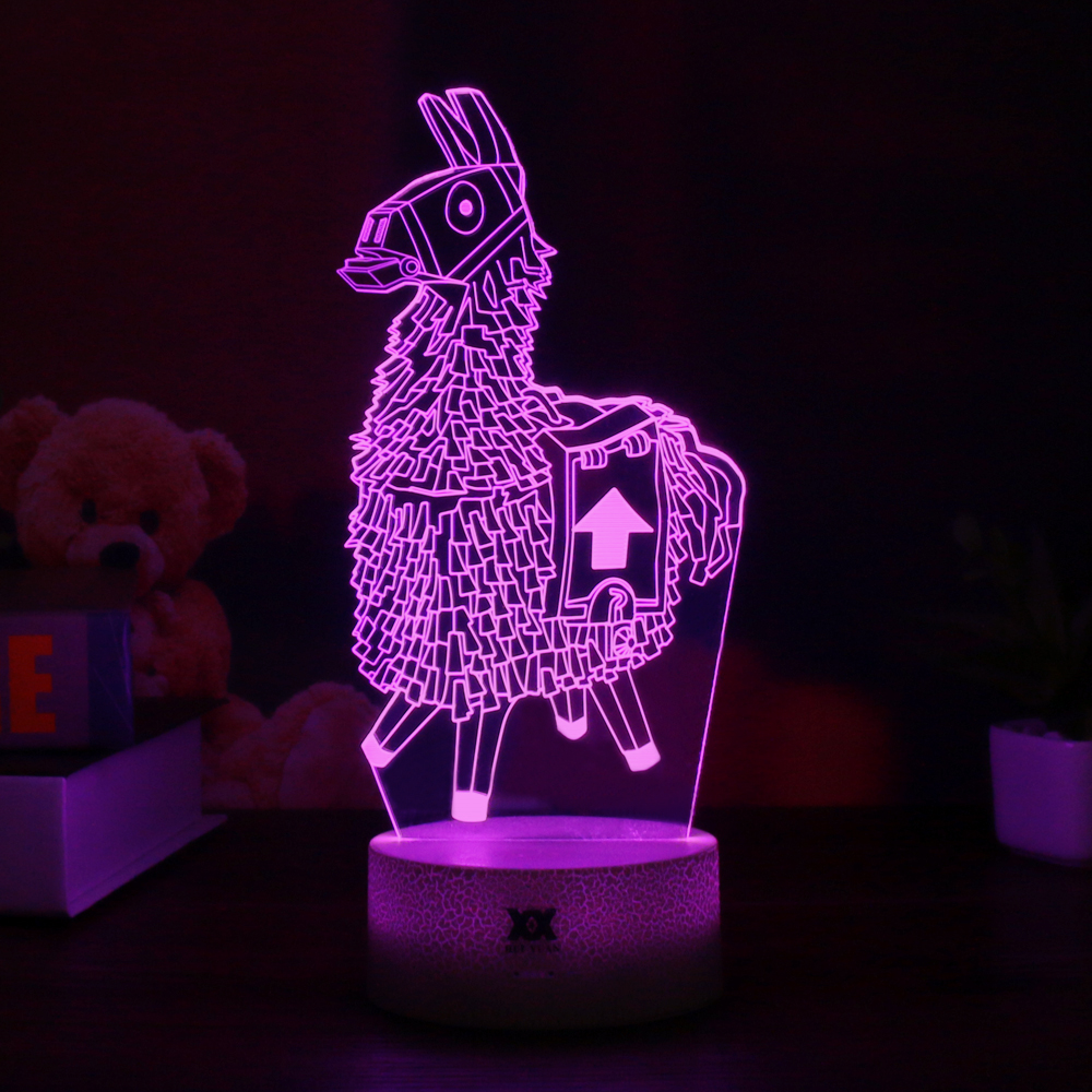 Fortnight Game Series 3D Lamp Llama/Omega/Raven Night Light 7 Color Table Lamp For Child Birthday Holiday Gift HUI YUAN Brand цена 2017