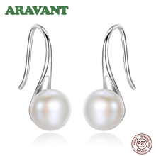 Hot Sale 925 Sterling Silver 6MM Real Natural Freshwater Pearl Water Drop Earrings For Women Antiallergy Wedding Jewelry