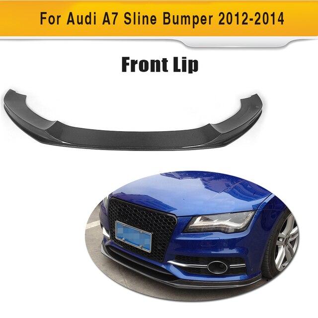 Carbon Fiber Front Bumper Lip Spoiler For Audi S7 A7 Sline 2012 2013 2014 Non A7 K Style