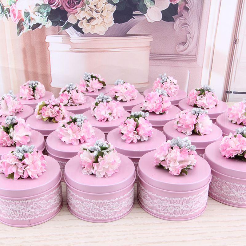 10/30pcs Lace Decor Storage Box For Party Supplies Flower Design Wedding Candy Gift Box Tin Round Caddy Metal Favor Organizador
