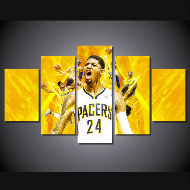 5 panel large HD printed painting Paul George basketball canvas ...