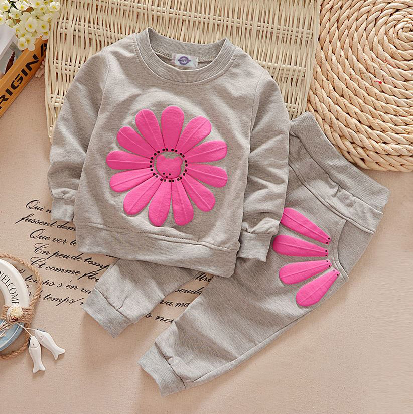 children clothing sets kids baby girl clothes set flowers ropa mujer kids sports suit girls bebes roupas infantis YAA026