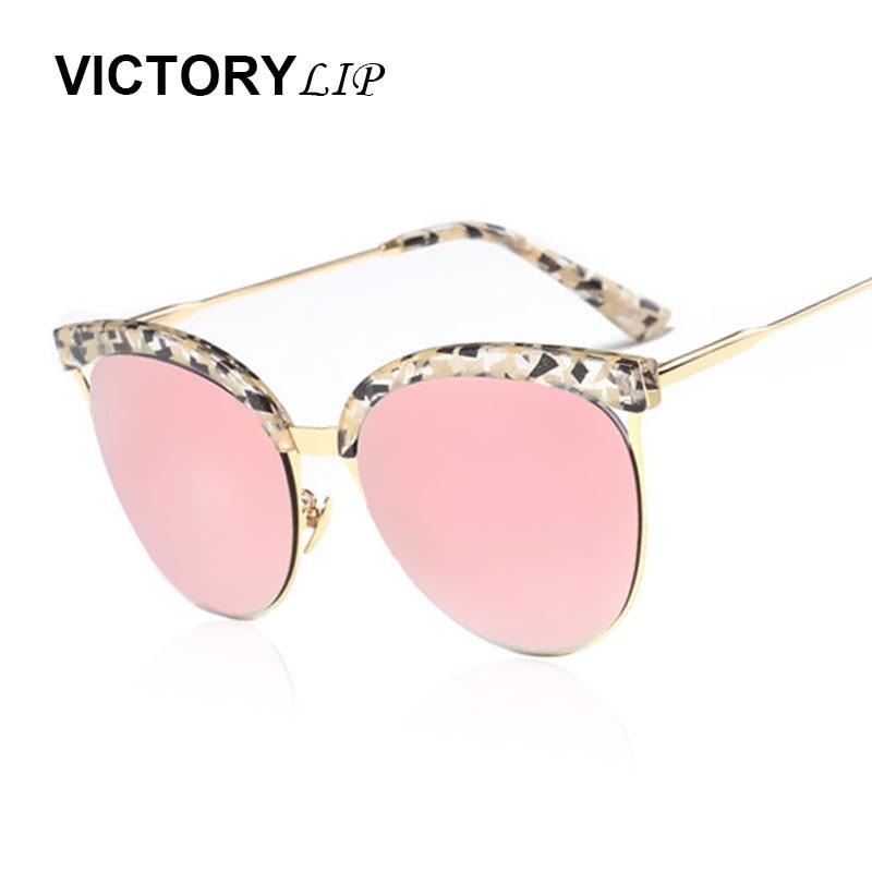 3afcea27e51 VictoryLip Vintage Fleur Cadre Cat Eye Marque Designer Miroir Femmes  lunettes de Soleil Rose Or Dame De Mode UV400 Lunettes de Soleil
