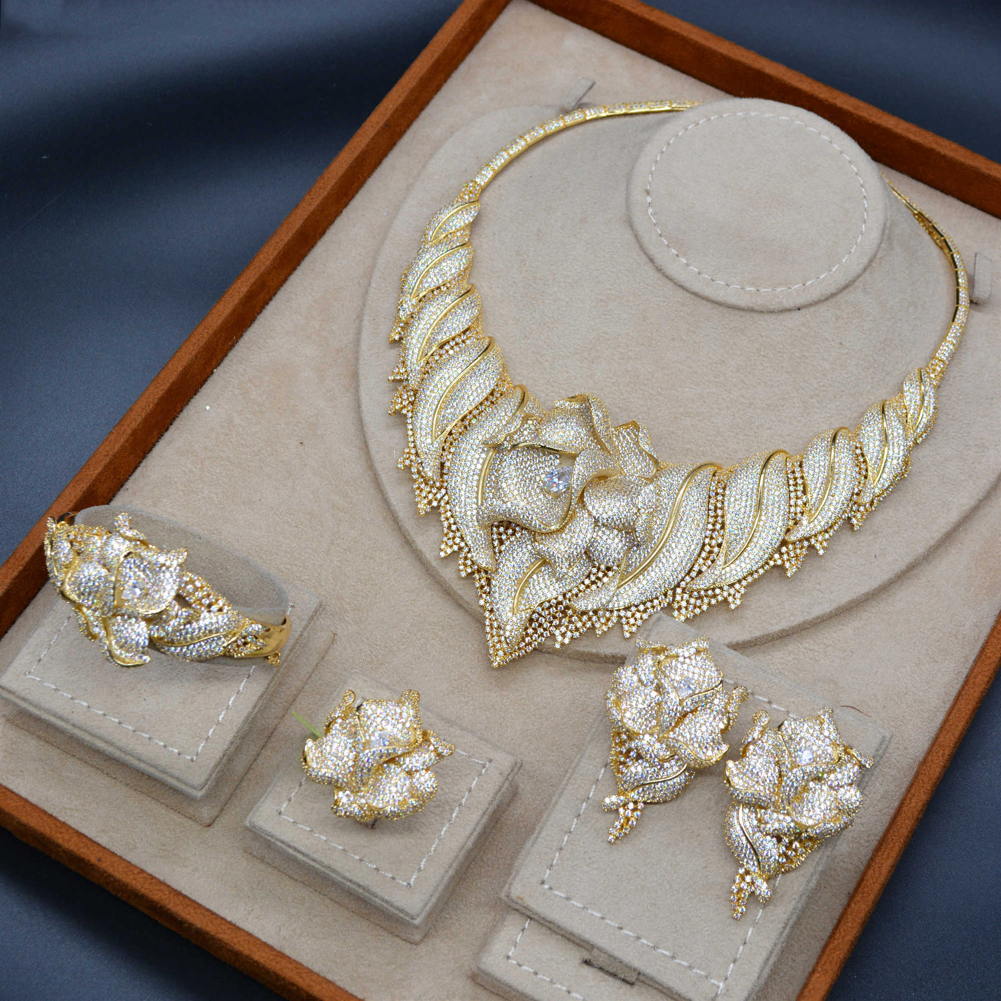 Image 5 - GODKI Trendy Luxury 4PCS Flower Nigeria Statement Jewelry Sets For Women Wedding Full Cubic Zircon Dubai Bridal jewelry Set 2019-in Jewelry Sets from Jewelry & Accessories