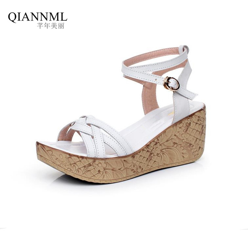 New 2017 Fashion Summer Women's Genuine Leather Wedges Sandals Buckle Platform Shoes Women Medium Heel Wedge Sandal woman fashion high heels sandals women genuine leather buckle summer shoes brand new wedges casual platform sandal gold silver
