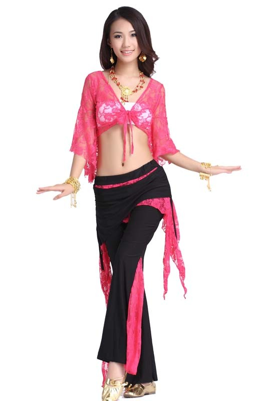 2016 Rayon Hot Sale Rushed Belly Dance Women Wine All Code Bellydance Lace Set Clothes Butterfly Sleeve 08 Boot Cut Dress