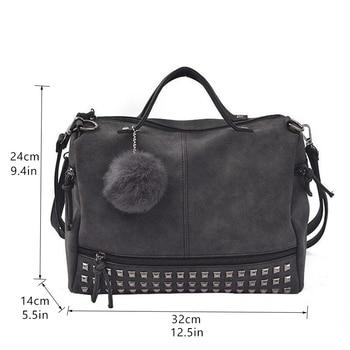 Bolish Vintage Nubuck Leather Female Top-handle Bags Rivet Larger Women Bag 10