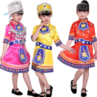 Kids Chinese Folk Dance Costume Hmong Chinese National Traditions Outfits Girls Miao Performance Dance Costumes Stage wear