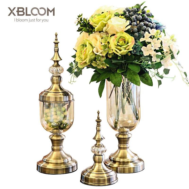 2018 Crystal Glass Metal Vase European American Creative Home