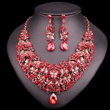 Conjunto de pendientes y collar de mariposa a la moda, conjuntos de joyería de novia Vintage, accesorios de disfraces de boda y fiesta de diamantes de imitación rojos para mujer