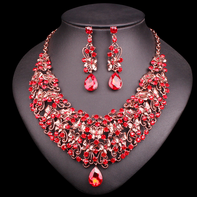 Fashion Butterfly Necklace Earring Sets Vintage Bridal Jewelry Sets Red Rhinestone Party Wedding Costume Accessories for Women